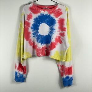 Zara Trafaluc Tie Dye Crop Sweatshirt